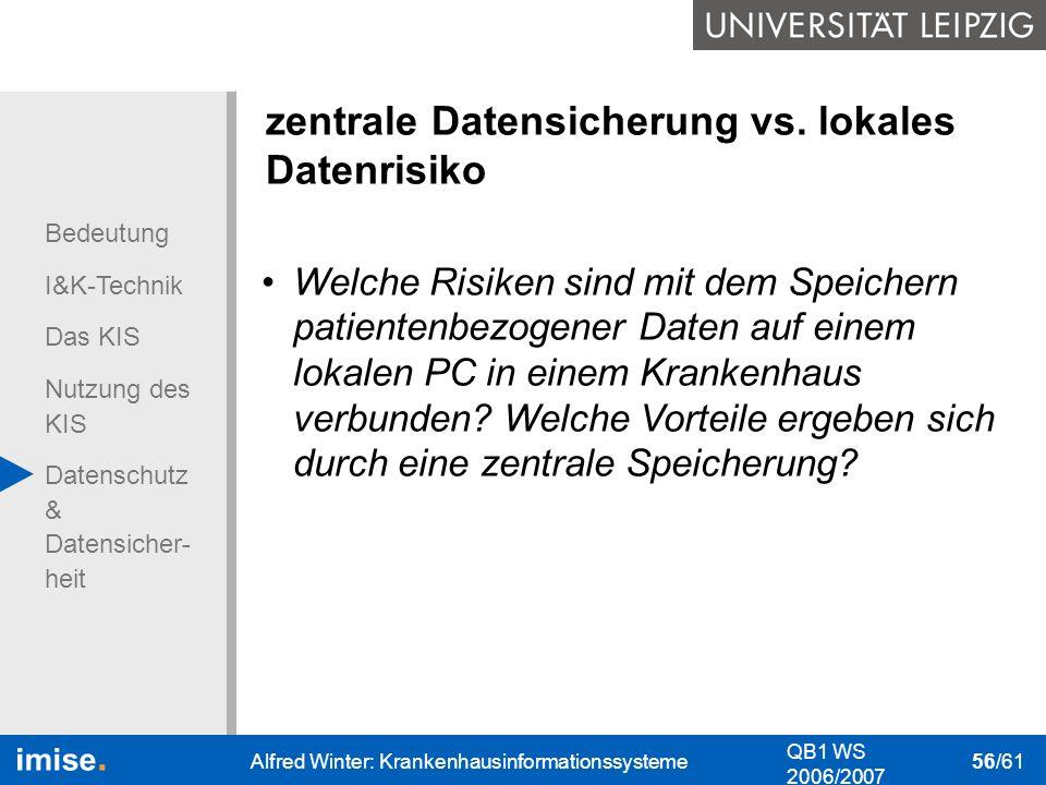 Bedeutung I&K-Technik Das KIS Nutzung des KIS Datenschutz & Datensicher- heit QB1 WS 2006/2007 Alfred Winter: Krankenhausinformationssysteme 56/61 zen