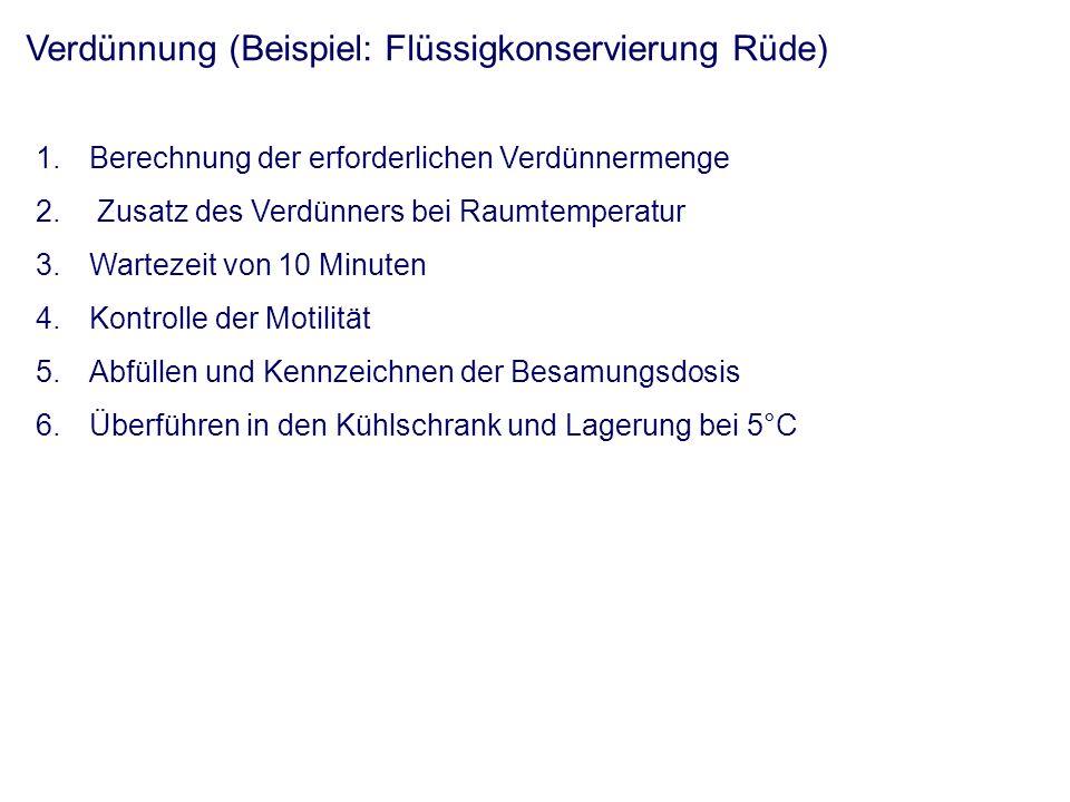 Verdünnung (Beispiel: Flüssigkonservierung Rüde) 1.Berechnung der erforderlichen Verdünnermenge 2.