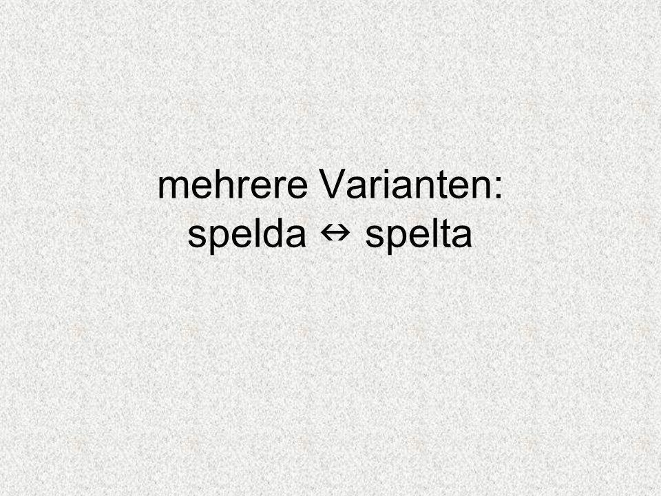mehrere Varianten: spelda spelta
