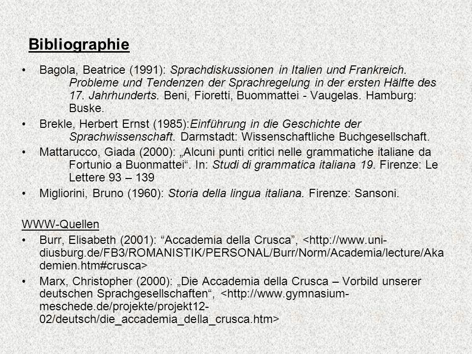 Bibliographie Bagola, Beatrice (1991): Sprachdiskussionen in Italien und Frankreich. Probleme und Tendenzen der Sprachregelung in der ersten Hälfte de