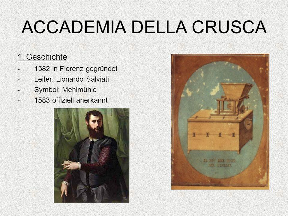 ACCADEMIA DELLA CRUSCA 1. Geschichte -1582 in Florenz gegründet -Leiter: Lionardo Salviati -Symbol: Mehlmühle -1583 offiziell anerkannt
