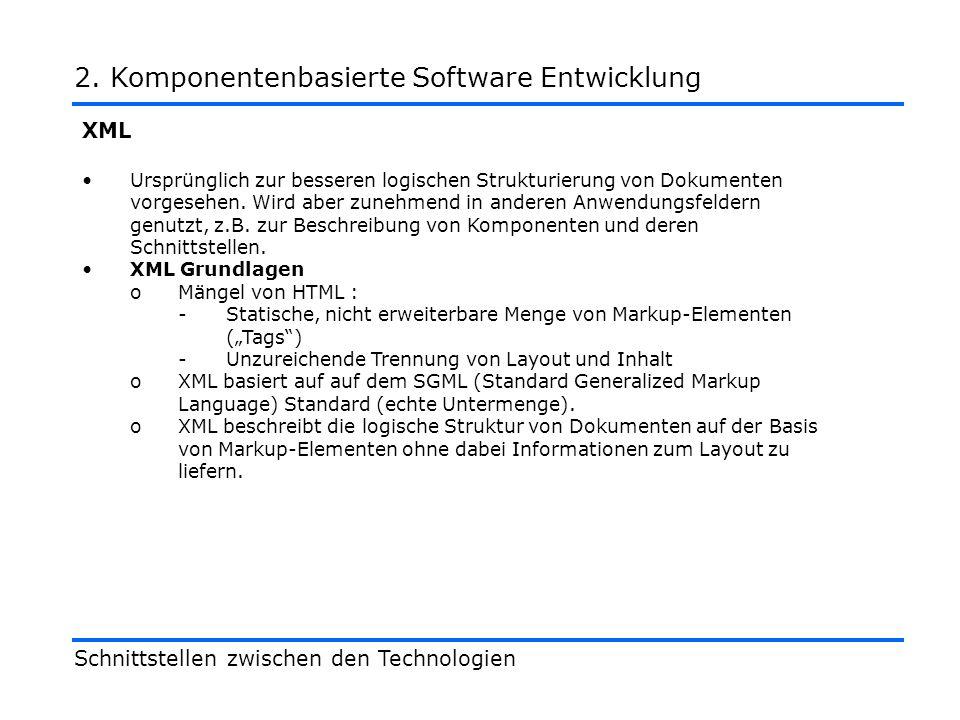 Konzept -Script wird über Schnittstelle als Parameter übergeben Anwendungsszenario -Client-spezifische Verarbeitung Vorteil -Komponente wird programmierbar Nachteile -Sicherheit wohldefinierte Schnittstelle aber nicht wohldefiniertes Verhalten der Komponenten Design by Contract beeinträchtigt Schnittstellen zwischen den Technologien 2.