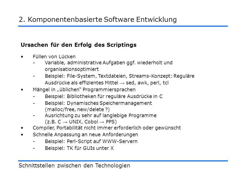 Ursachen für den Erfolg des Scriptings Füllen von Lücken -Variable, administrative Aufgaben ggf.