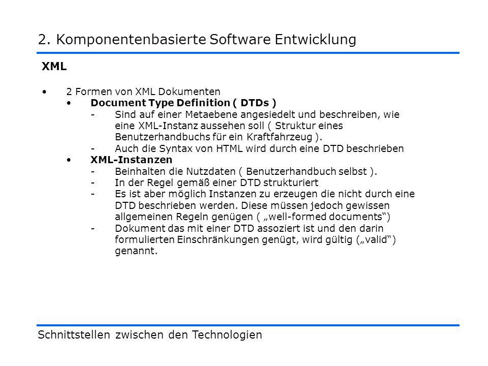 XML Schnittstellen zwischen den Technologien 2.Komponentenbasierte Software Entwicklung <.