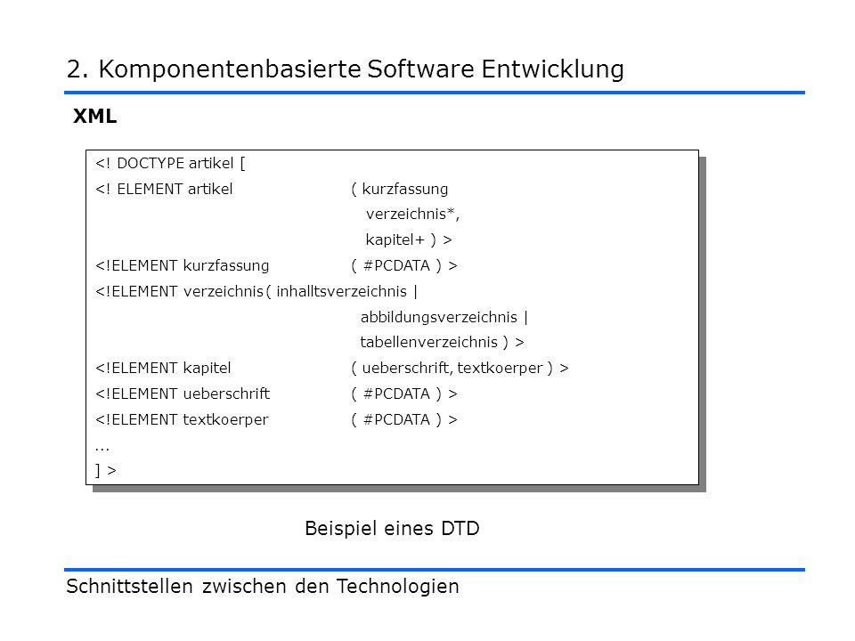 XML Schnittstellen zwischen den Technologien 2. Komponentenbasierte Software Entwicklung <.