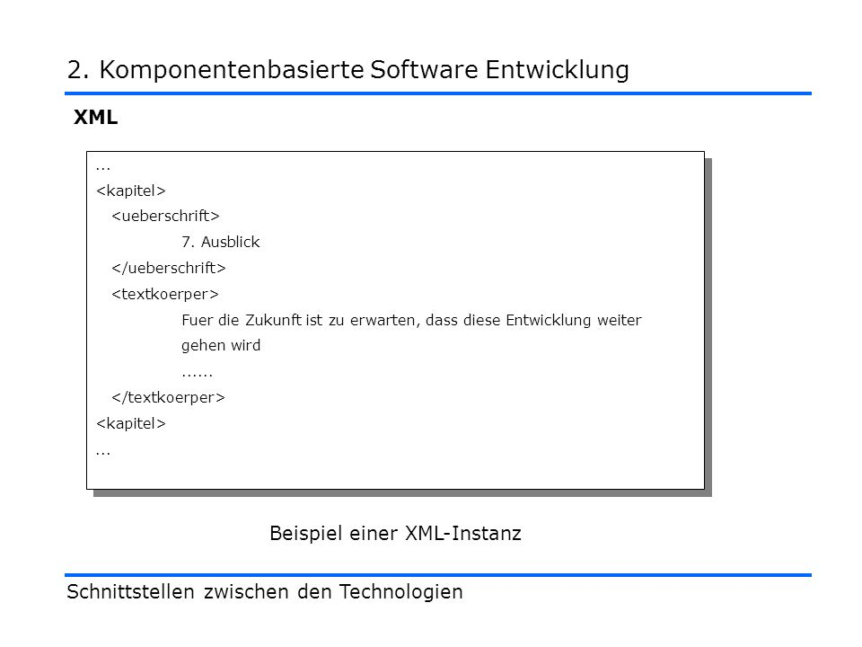 XML Schnittstellen zwischen den Technologien 2. Komponentenbasierte Software Entwicklung...