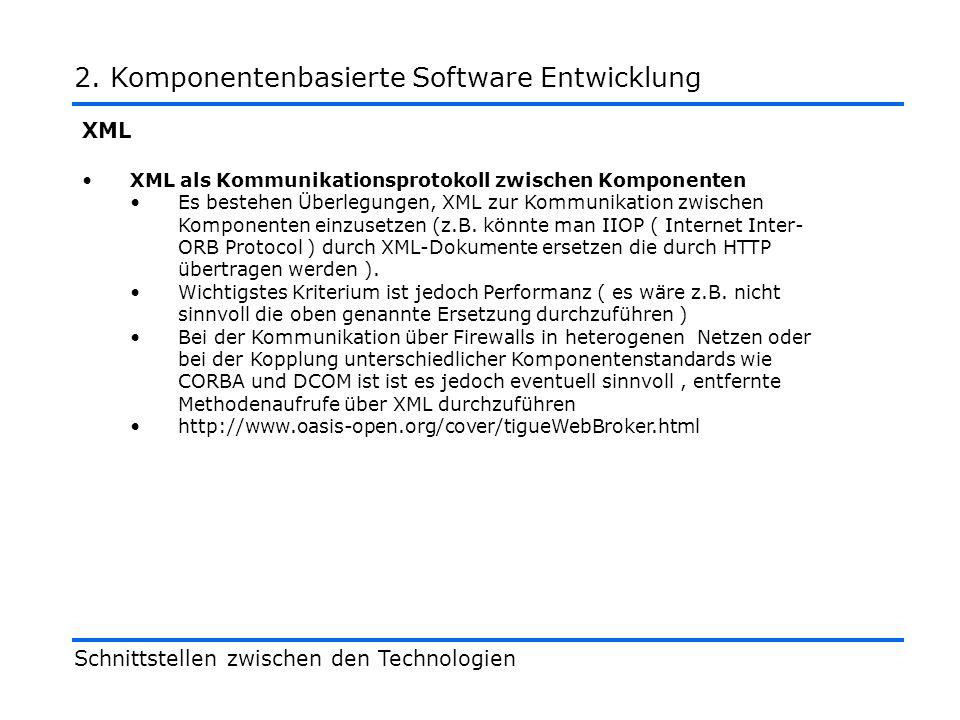 XML XML als Kommunikationsprotokoll zwischen Komponenten Es bestehen Überlegungen, XML zur Kommunikation zwischen Komponenten einzusetzen (z.B.