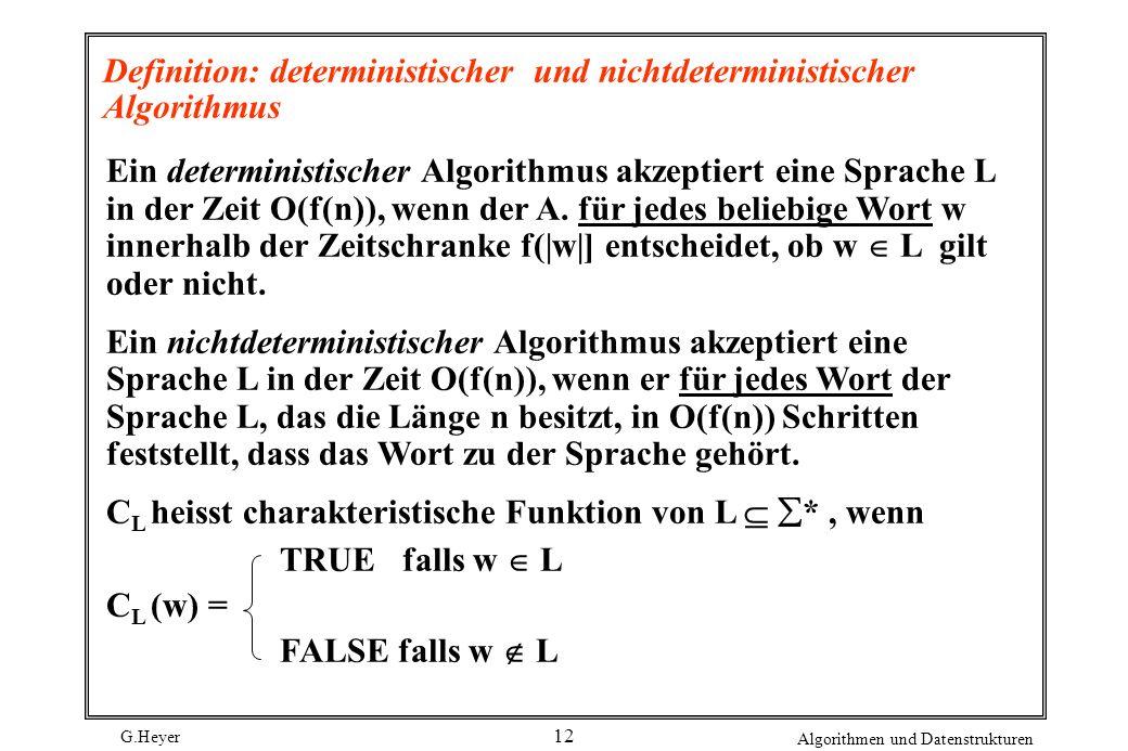 G.Heyer Algorithmen und Datenstrukturen 12 Definition: deterministischer und nichtdeterministischer Algorithmus Ein deterministischer Algorithmus akze