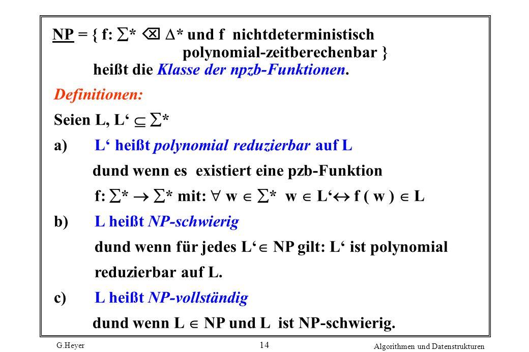 G.Heyer Algorithmen und Datenstrukturen 14 NP = { f: * * und f nichtdeterministisch polynomial-zeitberechenbar } heißt die Klasse der npzb-Funktionen.