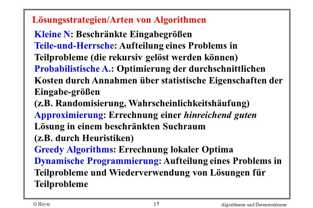 G.Heyer Algorithmen und Datenstrukturen 15 Lösungsstrategien/Arten von Algorithmen Kleine N: Beschränkte Eingabegrößen Teile-und-Herrsche: Aufteilung