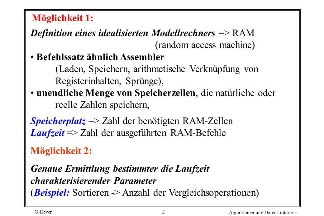 G.Heyer Algorithmen und Datenstrukturen 2 Möglichkeit 1: Definition eines idealisierten Modellrechners => RAM (random access machine) Befehlssatz ähnl