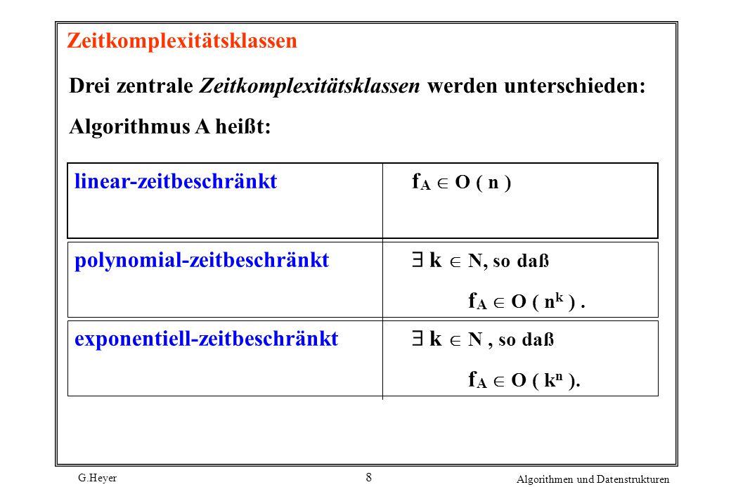 G.Heyer Algorithmen und Datenstrukturen 8 Zeitkomplexitätsklassen Drei zentrale Zeitkomplexitätsklassen werden unterschieden: Algorithmus A heißt: lin
