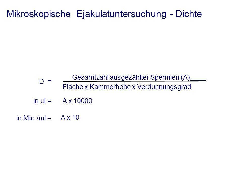 Mikroskopische Ejakulatuntersuchung - Dichte Gesamtzahl ausgezählter Spermien (A) Fläche x Kammerhöhe x Verdünnungsgrad in l = A x 10000 D = Berechnung der Dichte A x 10 in Mio./ml =