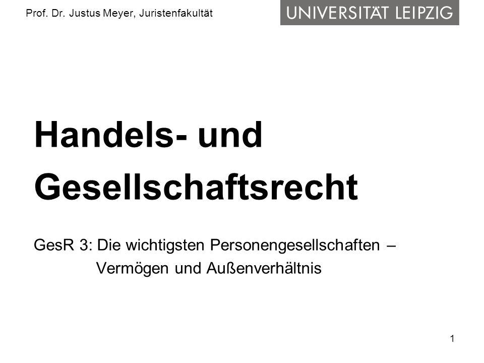 1 Prof. Dr. Justus Meyer, Juristenfakultät Handels- und Gesellschaftsrecht GesR 3: Die wichtigsten Personengesellschaften – Vermögen und Außenverhältn