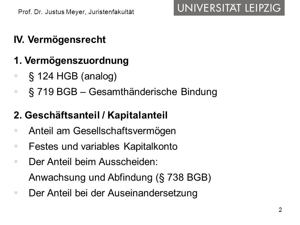 2 Prof. Dr. Justus Meyer, Juristenfakultät IV. Vermögensrecht 1. Vermögenszuordnung § 124 HGB (analog) § 719 BGB – Gesamthänderische Bindung 2. Geschä