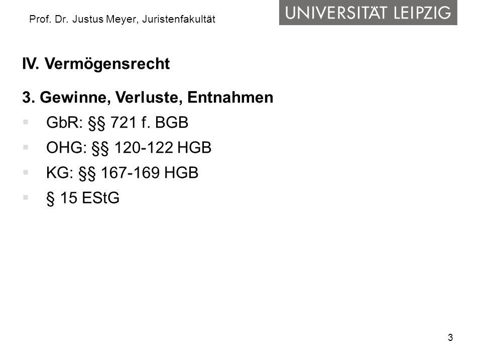 3 Prof. Dr. Justus Meyer, Juristenfakultät IV. Vermögensrecht 3. Gewinne, Verluste, Entnahmen GbR: §§ 721 f. BGB OHG: §§ 120-122 HGB KG: §§ 167-169 HG