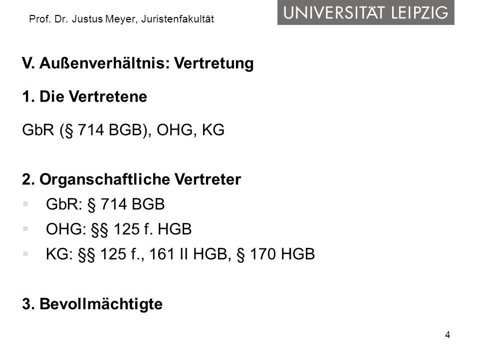 4 Prof. Dr. Justus Meyer, Juristenfakultät V. Außenverhältnis: Vertretung 1. Die Vertretene GbR (§ 714 BGB), OHG, KG 2. Organschaftliche Vertreter GbR