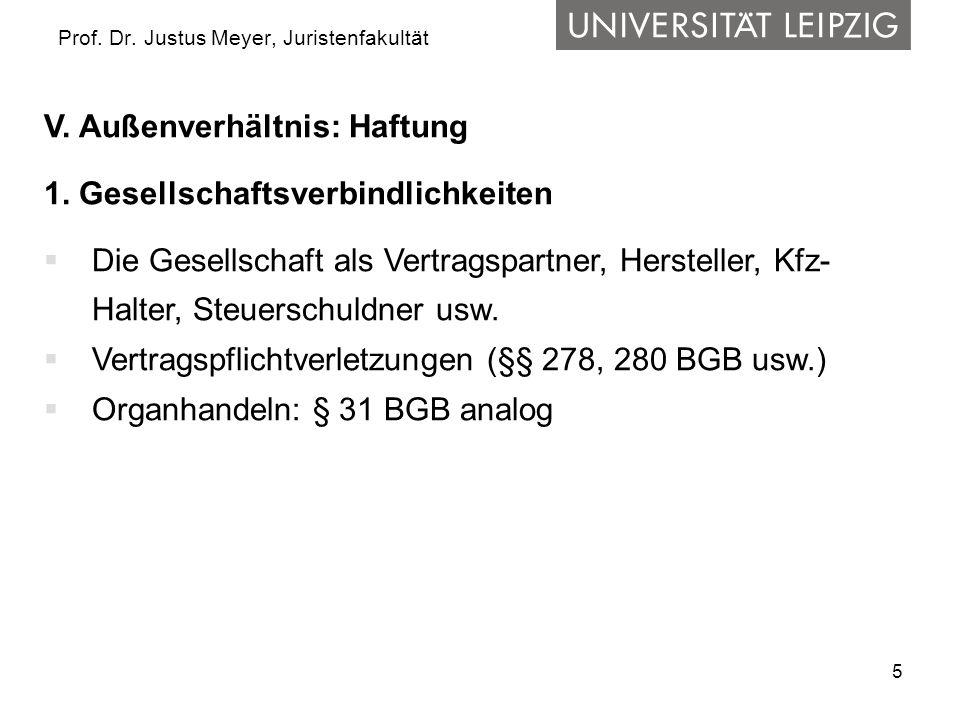 5 Prof. Dr. Justus Meyer, Juristenfakultät V. Außenverhältnis: Haftung 1. Gesellschaftsverbindlichkeiten Die Gesellschaft als Vertragspartner, Herstel