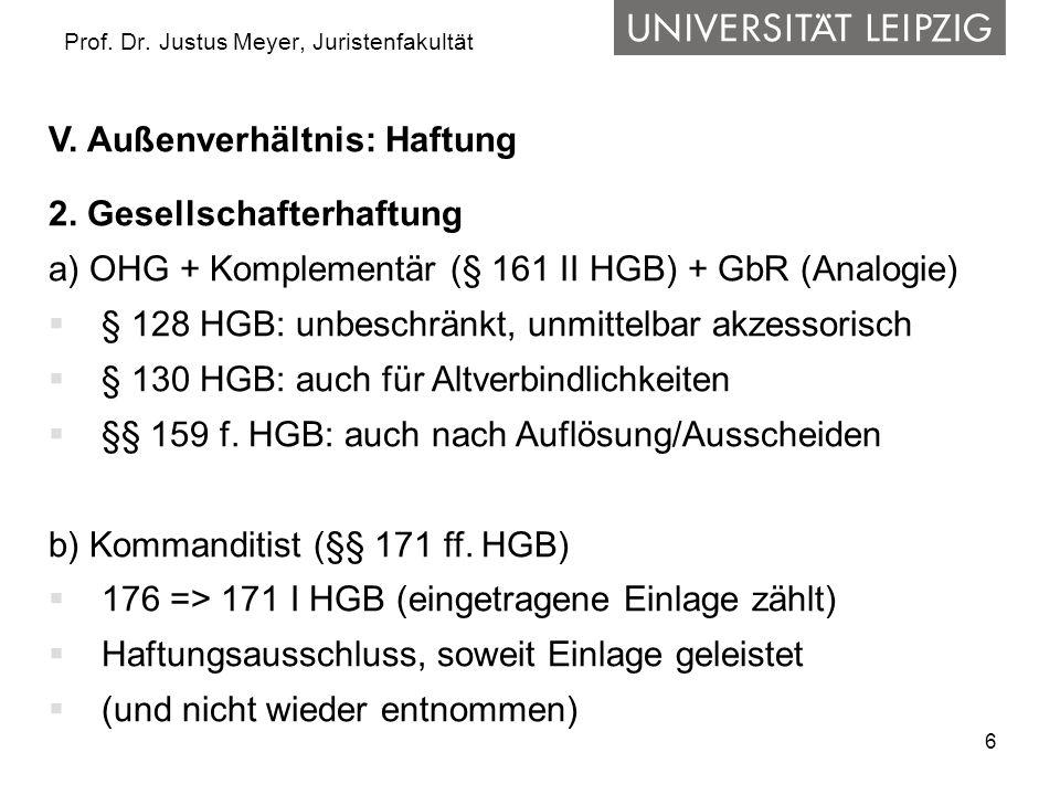 6 Prof. Dr. Justus Meyer, Juristenfakultät V. Außenverhältnis: Haftung 2. Gesellschafterhaftung a) OHG + Komplementär (§ 161 II HGB) + GbR (Analogie)