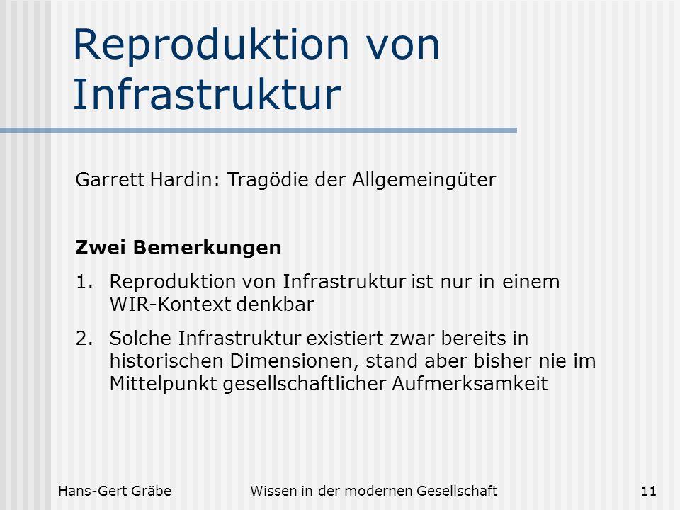 Hans-Gert GräbeWissen in der modernen Gesellschaft11 Reproduktion von Infrastruktur Garrett Hardin: Tragödie der Allgemeingüter Zwei Bemerkungen 1.Rep