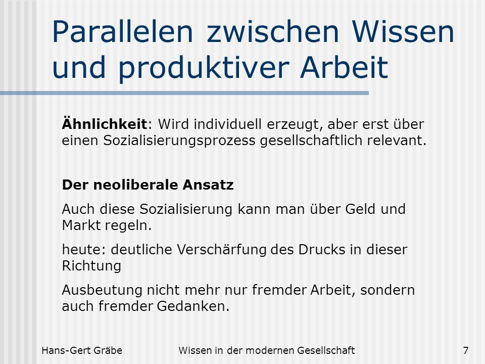Hans-Gert GräbeWissen in der modernen Gesellschaft8 Parallelen zwischen Wissen und produktiver Arbeit Frage: Gibt es Unterschiede in den Sozialisierungsanforderungen.
