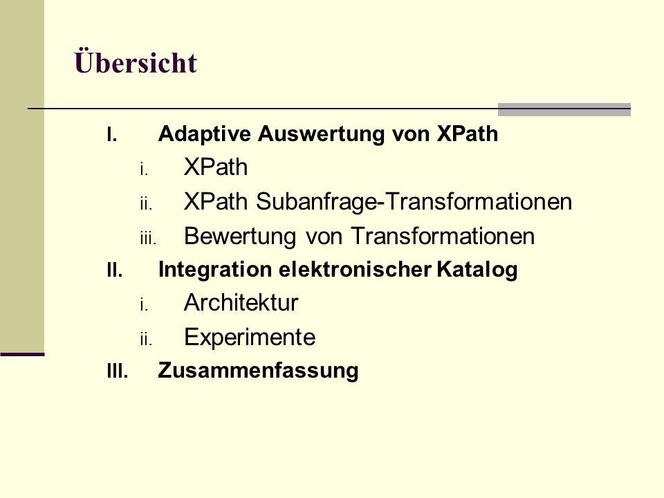 Übersicht I. Adaptive Auswertung von XPath i. XPath ii.