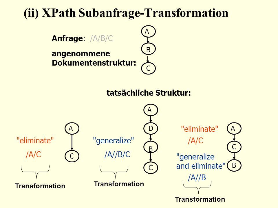 A B C A C A C A D B C B angenommene Dokumentenstruktur: (ii) XPath Subanfrage-Transformation tatsächliche Struktur: eliminate generalize eliminate generalize and eliminate /A/C/A//B/C /A/C /A//B Anfrage: /A/B/C Transformation