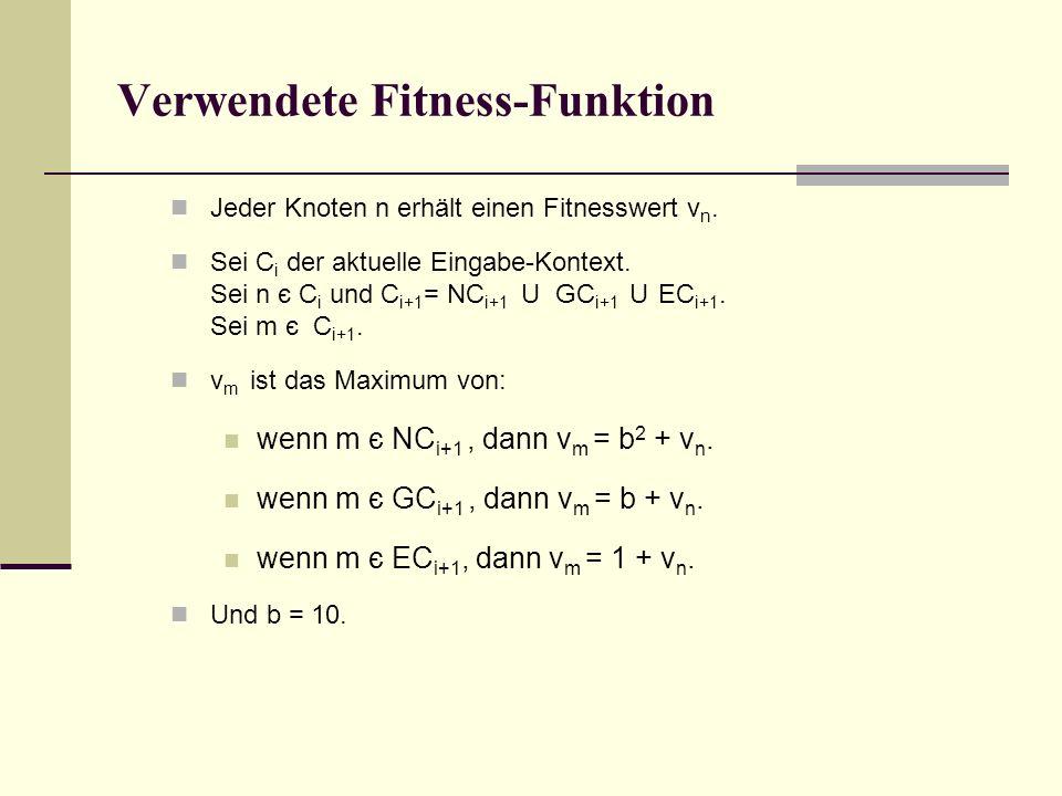 Verwendete Fitness-Funktion Jeder Knoten n erhält einen Fitnesswert v n.