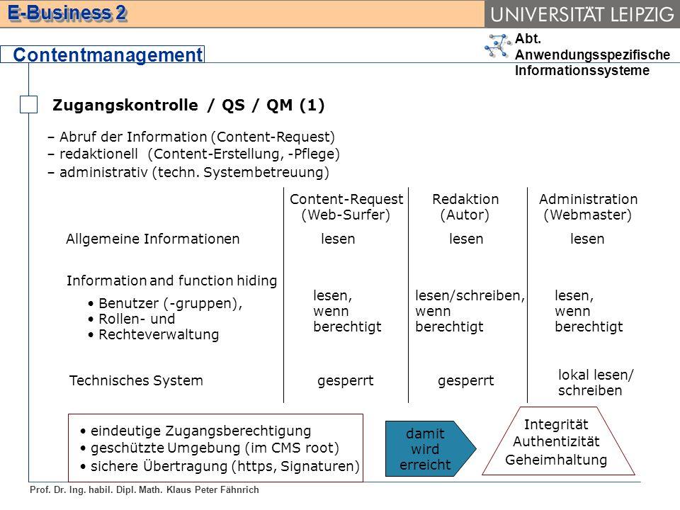 Abt. Anwendungsspezifische Informationssysteme Prof. Dr. Ing. habil. Dipl. Math. Klaus Peter Fähnrich E-Business 2 Zugangskontrolle / QS / QM (1) Cont