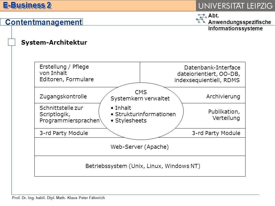 Abt. Anwendungsspezifische Informationssysteme Prof. Dr. Ing. habil. Dipl. Math. Klaus Peter Fähnrich E-Business 2 System-Architektur Contentmanagemen