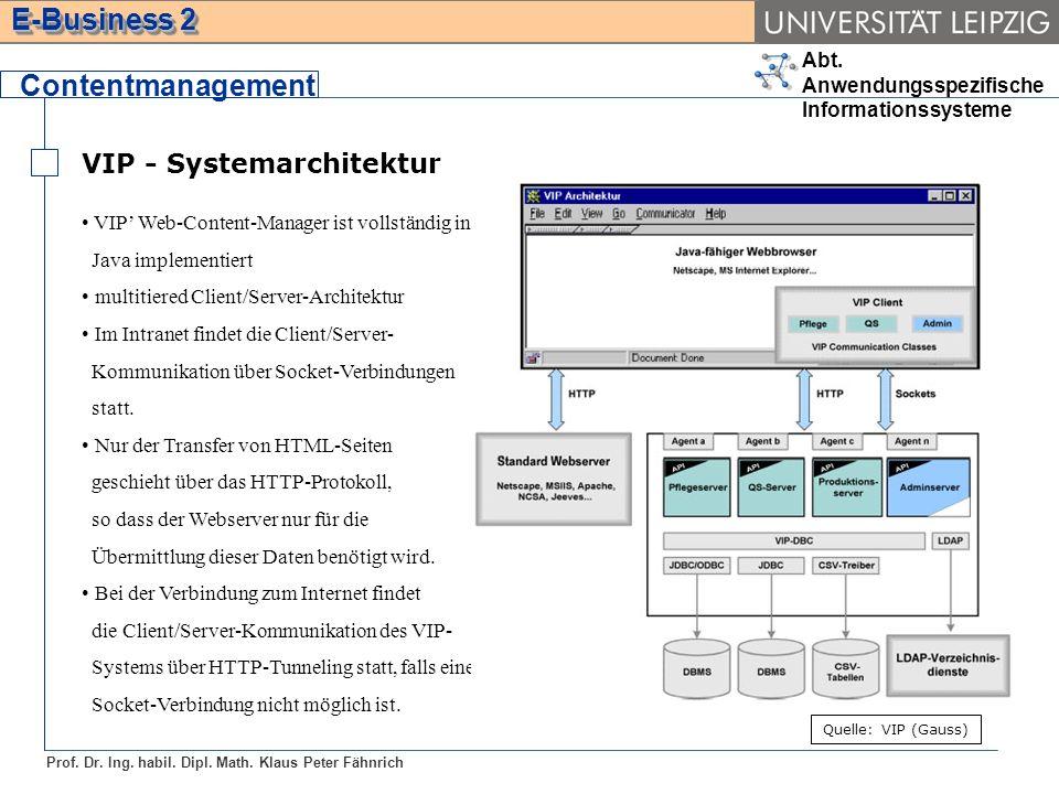 Abt. Anwendungsspezifische Informationssysteme Prof. Dr. Ing. habil. Dipl. Math. Klaus Peter Fähnrich E-Business 2 VIP - Systemarchitektur Contentmana