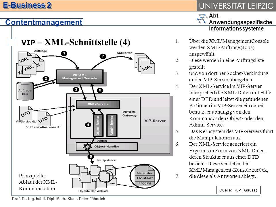 Abt. Anwendungsspezifische Informationssysteme Prof. Dr. Ing. habil. Dipl. Math. Klaus Peter Fähnrich E-Business 2 VIP – XML-Schnittstelle (4) Content