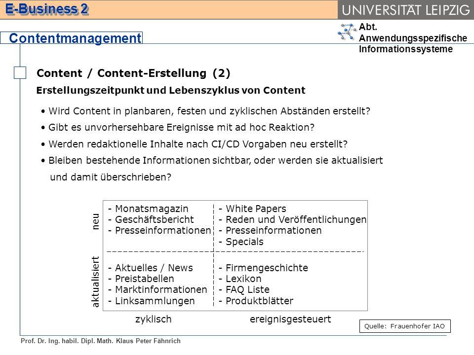 Abt. Anwendungsspezifische Informationssysteme Prof. Dr. Ing. habil. Dipl. Math. Klaus Peter Fähnrich E-Business 2 Content / Content-Erstellung (2) Co