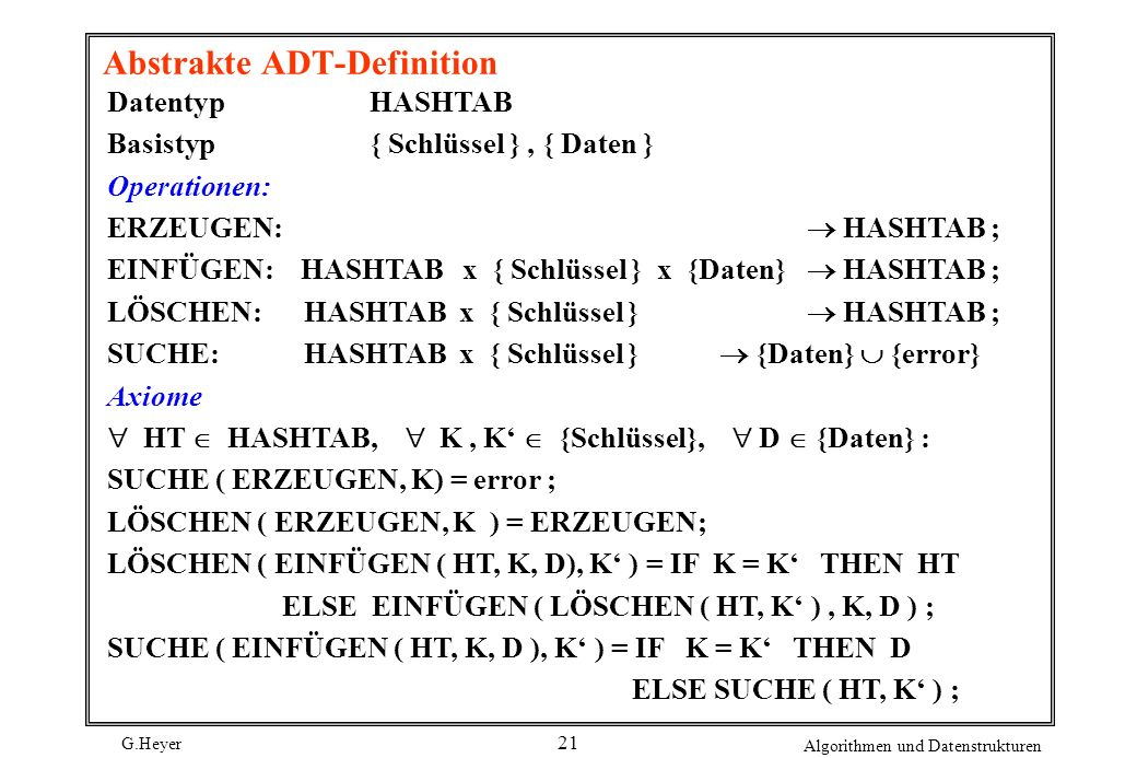 G.Heyer Algorithmen und Datenstrukturen 21 Abstrakte ADT-Definition DatentypHASHTAB Basistyp{ Schlüssel }, { Daten } Operationen: ERZEUGEN: HASHTAB ;
