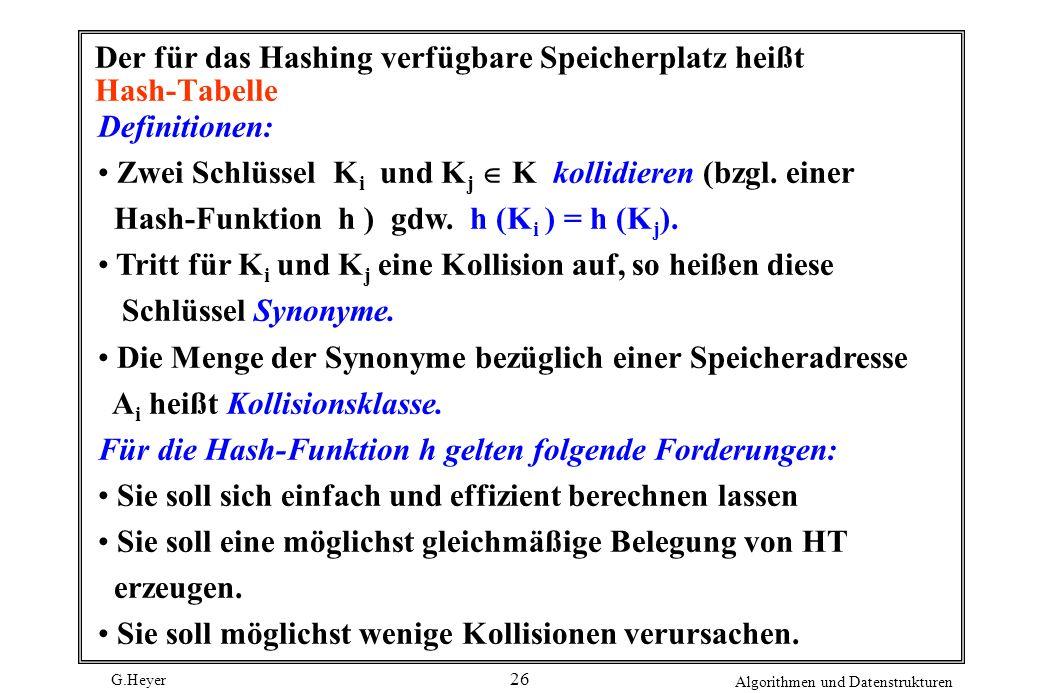 G.Heyer Algorithmen und Datenstrukturen 26 Der für das Hashing verfügbare Speicherplatz heißt Hash-Tabelle Definitionen: Zwei Schlüssel K i und K j K