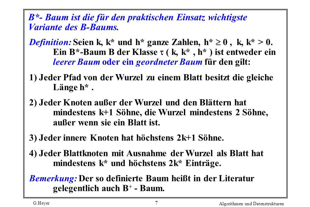 G.Heyer Algorithmen und Datenstrukturen 7 B*- Baum ist die für den praktischen Einsatz wichtigste Variante des B-Baums. Definition: Seien k, k* und h*