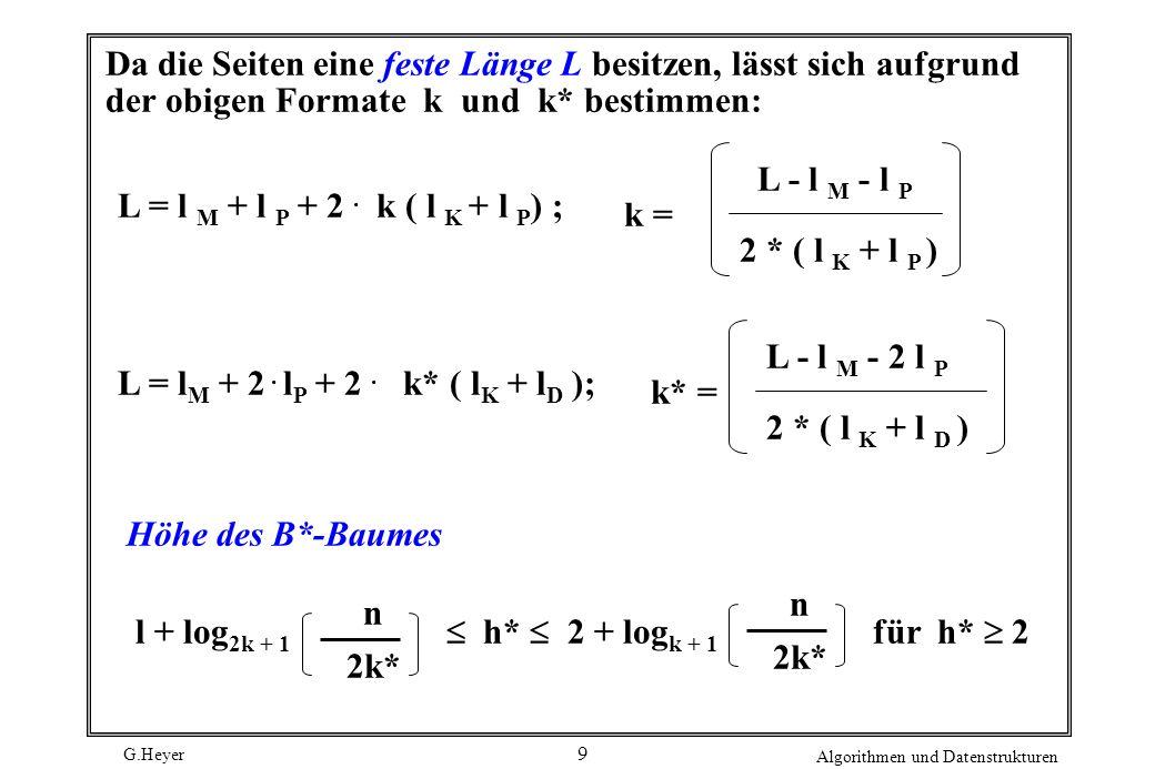G.Heyer Algorithmen und Datenstrukturen 9 Da die Seiten eine feste Länge L besitzen, lässt sich aufgrund der obigen Formate k und k* bestimmen: L = l