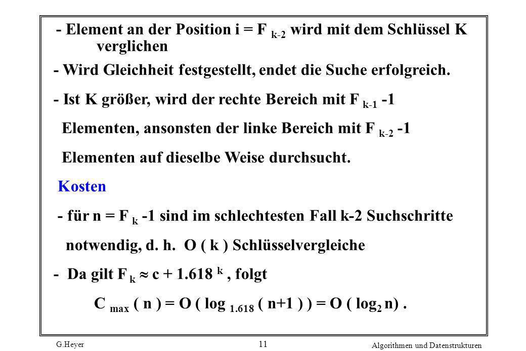 G.Heyer Algorithmen und Datenstrukturen 11 - Element an der Position i = F k-2 wird mit dem Schlüssel K verglichen - Wird Gleichheit festgestellt, end