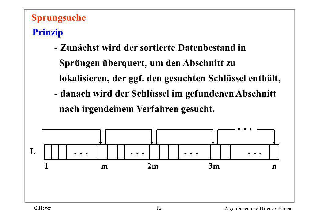 G.Heyer Algorithmen und Datenstrukturen 12 Sprungsuche Prinzip - Zunächst wird der sortierte Datenbestand in Sprüngen überquert, um den Abschnitt zu l