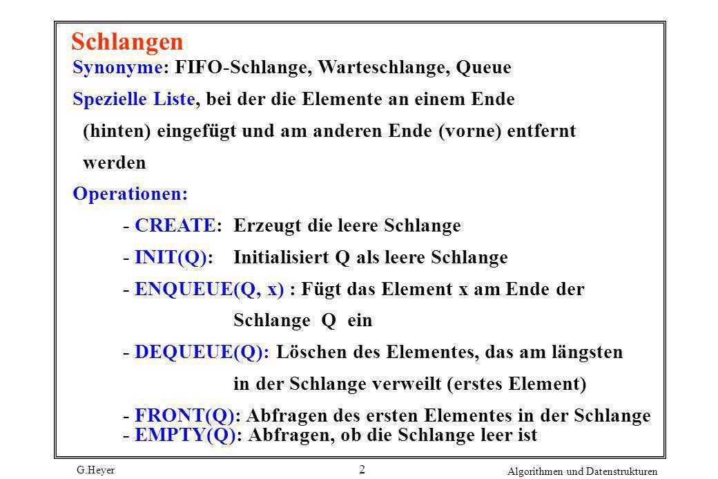 G.Heyer Algorithmen und Datenstrukturen 3 Vorrangwarteschlangen Vorrangwarteschlange (priority queue) - jedes Element erhält Priorität - entfernt wird stets Element mit der höchsten Priorität (Aufgabe des FIFO-Verhaltens einfacher Warteschlangen) Operationen: - CREATE: Erzeugt die leere Schlange - INIT(P): Initialisiert P als leere Schlange - INSERT(P, x): Fügt neues Element x in Schlange P ein - DELETE(P): Löschen des Elementes mit der höchsten Priorität aus P - MIN(P): Abfragen des Elementes mit der höchsten Priorität - EMPTY(P): Abfragen, ob Schlange P leer ist.
