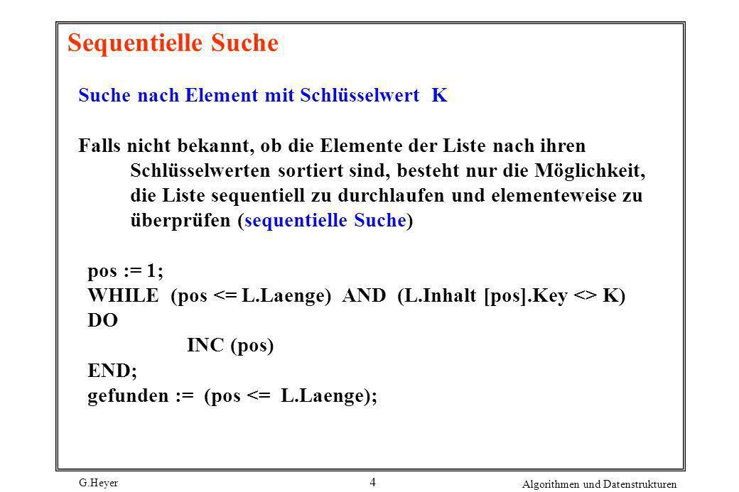 G.Heyer Algorithmen und Datenstrukturen 15 Sprungsuche (2) Zwei-Ebenen-Sprungsuche - statt sequentieller Suche im lokalisierten Abschnittwird wiederum eine Quadratwurzel-Sprungsuche angewendet, bevor dann sequentiell gesucht wird - Mittlere Kosten: C avg ( n ) <= * a * V n + * b * n + * c * n a Kosten eines Sprungs auf der ersten Ebene; b Kosten eines Sprungs auf der zweiten Ebene; c Kosten für einen sequentiellen Vergleich - Für a = b = c ergibt sich: C avg ( n ) <= a V n + n
