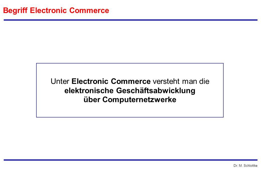 Dr. M. Schlottke Begriff Electronic Commerce Unter Electronic Commerce versteht man die elektronische Geschäftsabwicklung über Computernetzwerke
