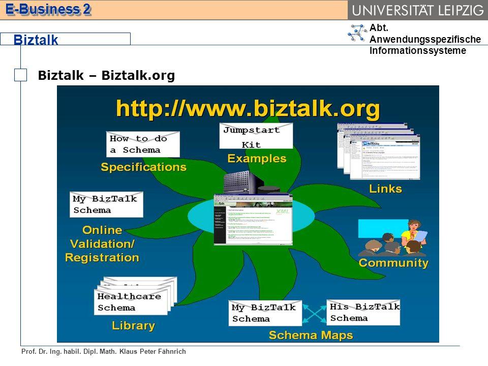 Abt. Anwendungsspezifische Informationssysteme Prof. Dr. Ing. habil. Dipl. Math. Klaus Peter Fähnrich E-Business 2 Biztalk Biztalk – Biztalk.org