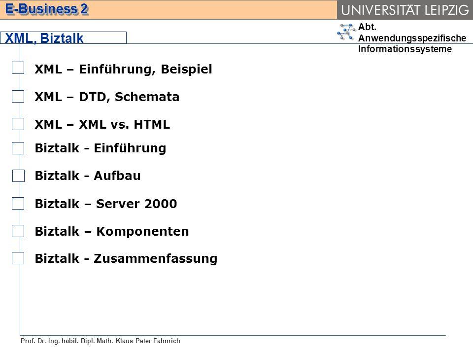 Abt. Anwendungsspezifische Informationssysteme Prof. Dr. Ing. habil. Dipl. Math. Klaus Peter Fähnrich E-Business 2 XML, Biztalk Biztalk - Einführung B