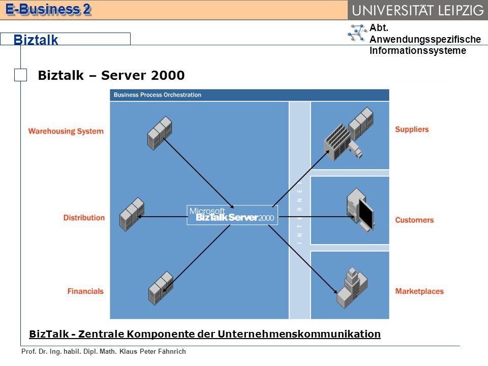 Abt. Anwendungsspezifische Informationssysteme Prof. Dr. Ing. habil. Dipl. Math. Klaus Peter Fähnrich E-Business 2 Biztalk Biztalk – Server 2000 BizTa