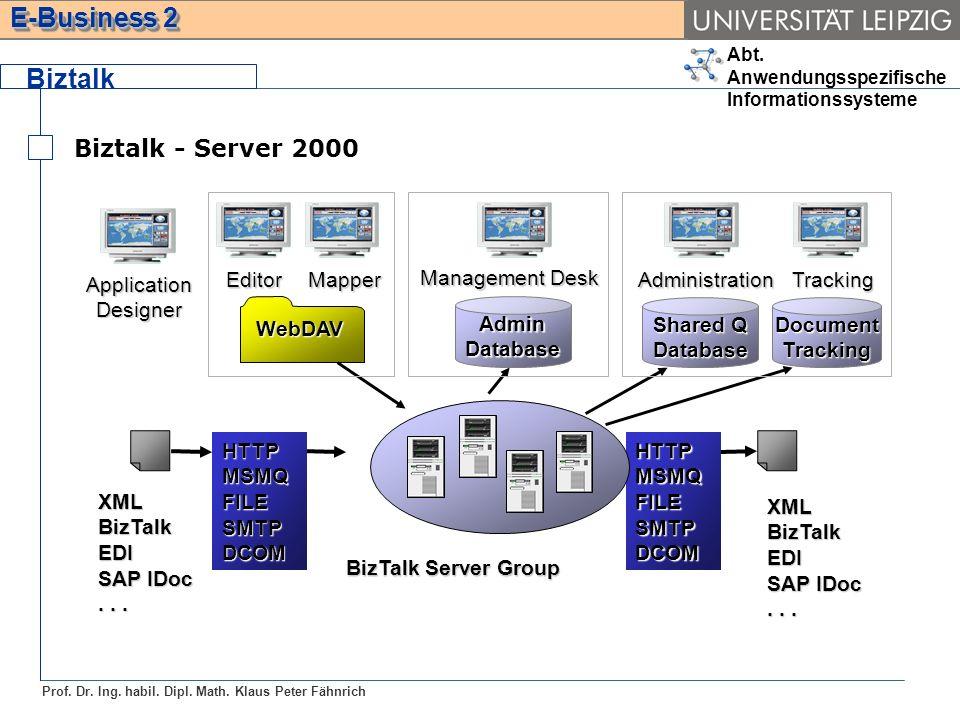 Abt. Anwendungsspezifische Informationssysteme Prof. Dr. Ing. habil. Dipl. Math. Klaus Peter Fähnrich E-Business 2 Biztalk Biztalk - Server 2000 HTTPM