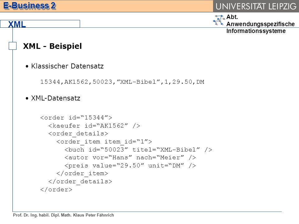 Abt. Anwendungsspezifische Informationssysteme Prof. Dr. Ing. habil. Dipl. Math. Klaus Peter Fähnrich E-Business 2 XML XML - Beispiel Klassischer Date