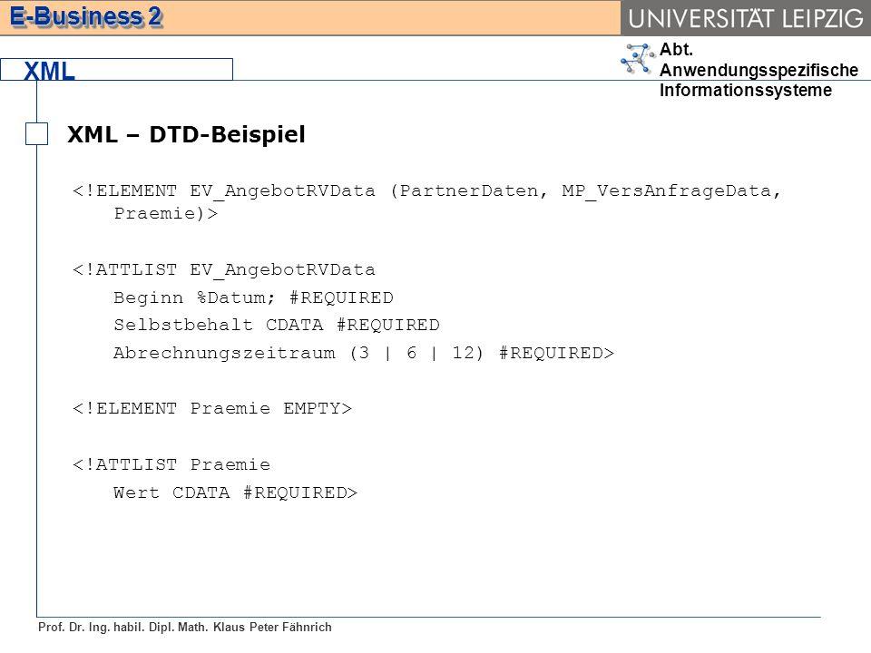 Abt. Anwendungsspezifische Informationssysteme Prof. Dr. Ing. habil. Dipl. Math. Klaus Peter Fähnrich E-Business 2 XML XML – DTD-Beispiel <!ATTLIST EV
