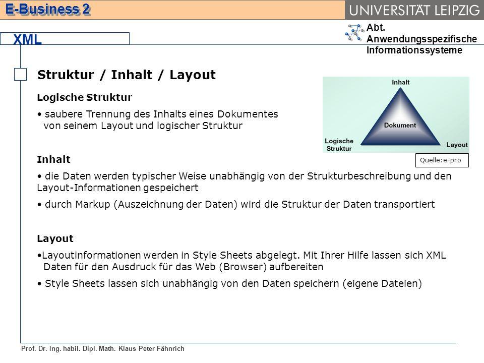 Abt. Anwendungsspezifische Informationssysteme Prof. Dr. Ing. habil. Dipl. Math. Klaus Peter Fähnrich E-Business 2 XML Struktur / Inhalt / Layout Logi