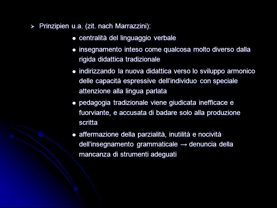 Prinzipien u.a. (zit. nach Marrazzini): Prinzipien u.a. (zit. nach Marrazzini): centralità del linguaggio verbale centralità del linguaggio verbale in